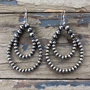 Sterling Silver Desert Pearl Double Loop Earrings